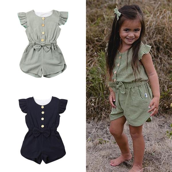 2 couleurs été fille enfants vêtements couleur pure boucle unique boucle barboteuse arcs volant manchon combinaison enfants Designer vêtements filles DHL JY346