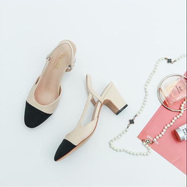 Women Designer Beige Gray Black Two Tone Leather Suede Slingback heels Pumps sandal Loafers Womens sandals Size 34-41 2CM 2.5CM 6Cm heel