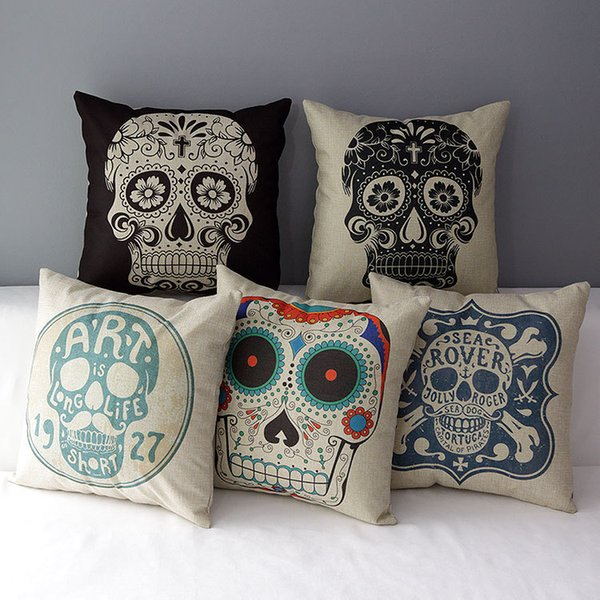 Skulls Art Cushion Covers Flower Skull Halloween Holiday Decorative Cushion Cover Linen Cotton Pillow Case For Sofa Couch Chair Seat