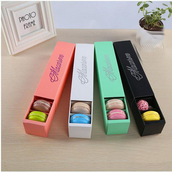 top popular Macaron Box Cake Boxes Home Made Macaron Chocolate Boxes Biscuit Muffin Box Retail Paper Packaging 20.3*5.3*5.3cm Black Pink Green 2019
