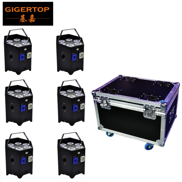 TIPTOP 6 luci / Flight case batteria telecomando IR wireless / night club uplight 6X6W LED Display telefono app controllo andriod / apple system