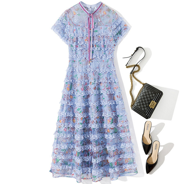 L4323 Women's Runway Designer Dresses Short Sleeve Round Neck Floral Print Lace Ribbon Tie Bow Panelled Midi Dress Long Vestidos 71320YL6