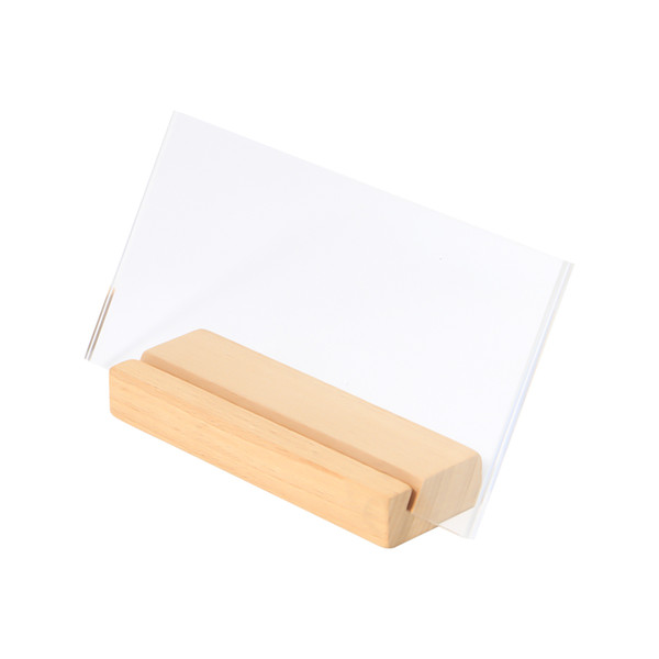 150*100mm Menu Holder Stand A6 Photo Frame Paper Picture Cover Acrylic Label Frame Wood Sign Stand Desk Photo Holder Display