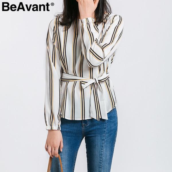 51429246b1181 Beavant elegante listrado manga comprida blusa mulheres o neck sash arco  blusa camisa verão plus size escritório senhoras brancas blusas