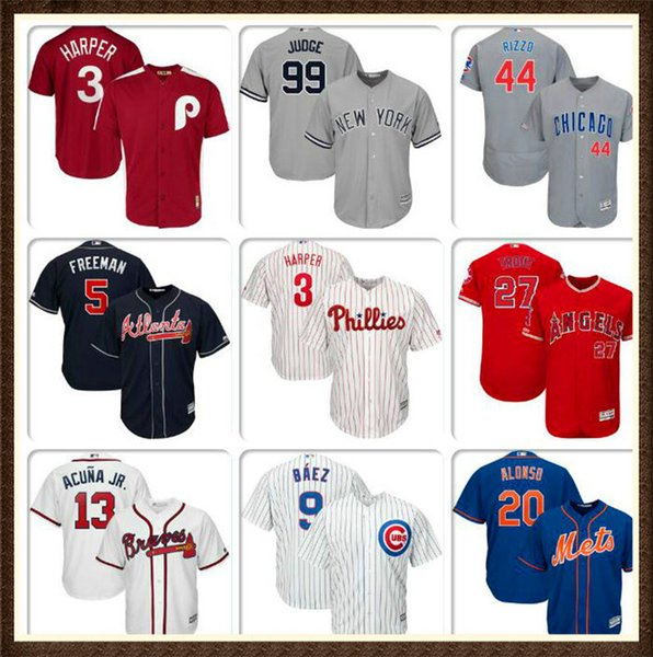 Mens Baseball Jersey Javier Baez Anthony Rizzo Ronald Acuna Jr. Bryce Harper Mike Trout Aaron Judge Authentic Home jerseys Gleyber Torres