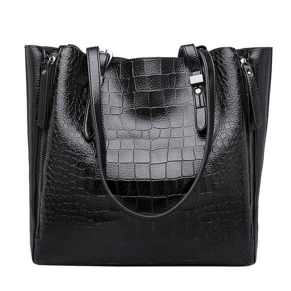 Mulheres Shoulder Bag Moda mulheres Bolsas de couro de crocodilo grande capacidade Sacola Casual Couro Pu Mensageiro # 0930