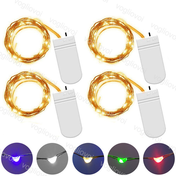 top popular LED Strings Copper Silver Wire Lights Battery Fairy light 1M 2M 3M For Christmas Halloween Xmas Home Party Wedding Party Decoration DHL 2020