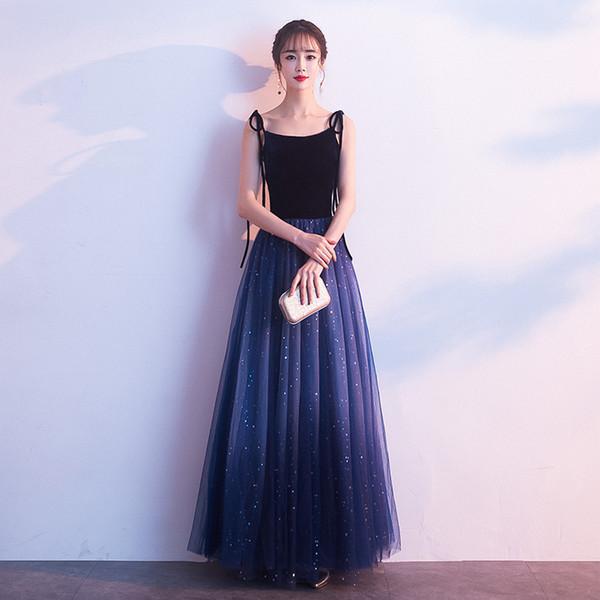 Elegant A-line Gradient Color Long Evening Dress Bateau Neck Spaghetti Strap Sequined Navy Blue Formal Dresses Evening Gown