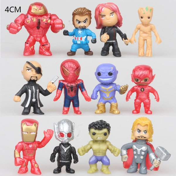 Avengers Film Chiffres Iron Man Batman Mini Figurine Enfants Oeuf Twisting Toys 12 Pcs 1 Lot 10ld O1