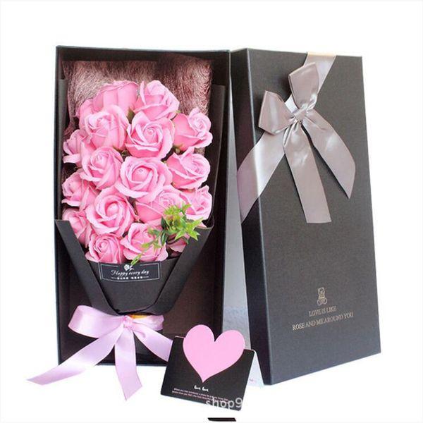 Acheter Belle Main Savon Rose Fleur Rose Bouquet Cadeau Boîte Savon De Bain Rose Fleur Pour Anniversaire Mères Et Cadeaux De La Saint Valentin De