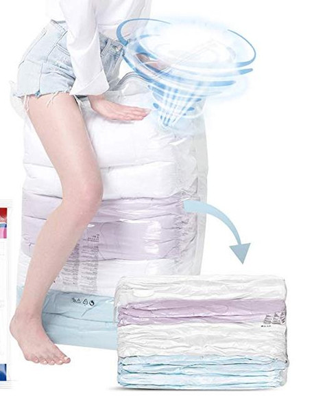 Space saver Vacuum Storage Bags No Pumps Needed Cube Extra Large Bag for Blanket Duvet Pillow Bedding Clothing Premium Strong Re-Usable