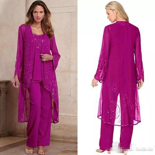 Plus Size Fuchsia Mother Of Bride Pant Suit Three Pieces Chiffon Mother Formal Wear Beaded Special Occasion Mothers Pantsuit With Jacket