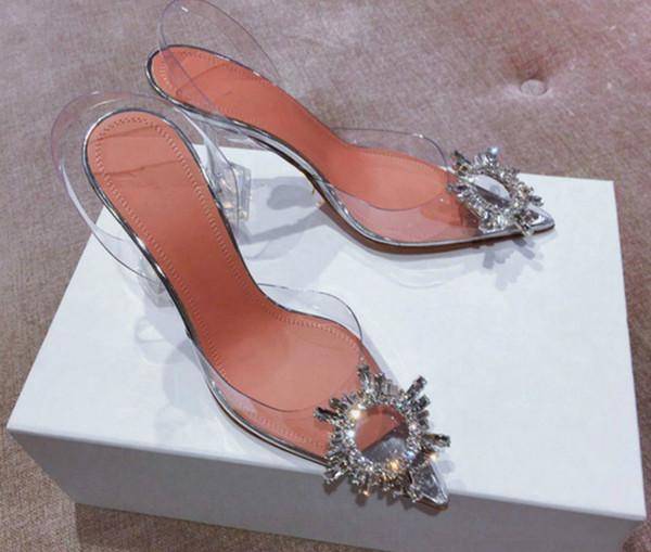 Yaz Kadın Sivri Burun Jöle Ayakkabı Moda Yeni Marka Shining Rhinestone Lady Düğün Parti Yüksek Topuk Sandalet
