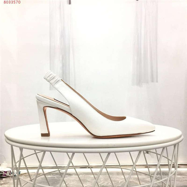 New spring and summer sandals for women, Solid colored cowhide fabric High-heeled sandals Heel-height 7 cm