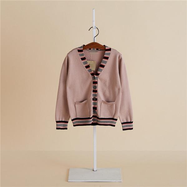 2019 британский ветер детский свитер V-образным вырезом мальчики и девочки кардиган вязать куртка высокого класса жаккардовые кружева шить детская линия одежды