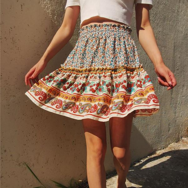 best selling Fashion falbala skirt women dress high waist floral print dress skirts new women summer dress Clothing gift