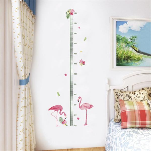 1pc cartoon Animals Flamingos Height Measure Wall Sticker Kids Rooms bedroom Growth Chart Nursery Room Decor Wall Decals Art