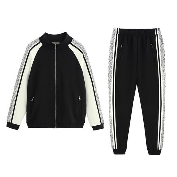 Brand designer mens tracksuit 2019 new GG high quality fashion sportswear luxury couple leisure cotton sweatshirt wild two piece outfits