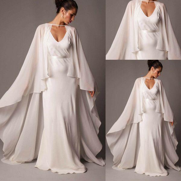 Marfil Cabo nupcial boda de las mujeres Capa larga de la gasa de la chaqueta más Envuelva formal por encargo de novia Bolero