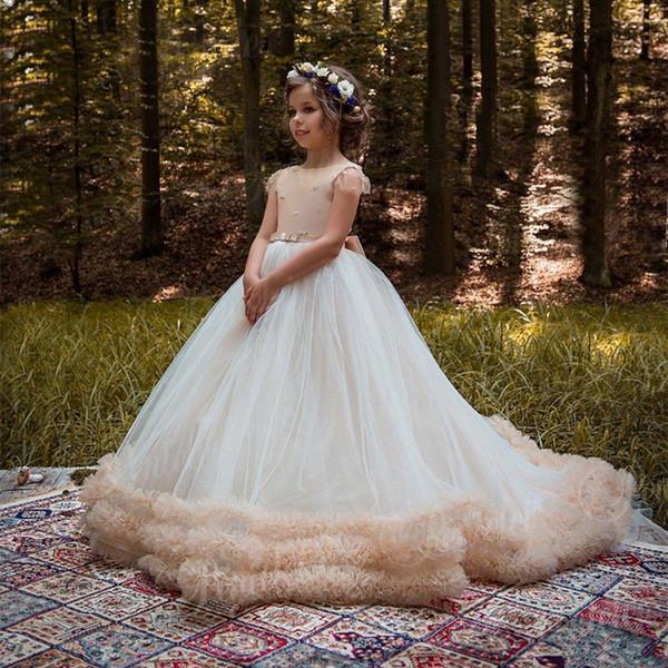 2019 Modest Lace Apliques Flor Meninas Vestidos A-Line Crianças Vestidos de Festa Meninas Pageant Vestidos Personalizados Online Kids Party Wear