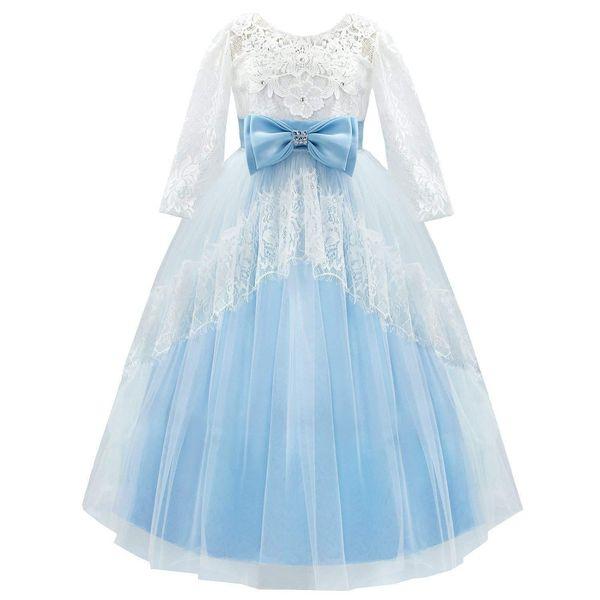 Flowers Pearls Flower Girls Dresses For Wedding 2019 Sheer Neck Hollow Back ball Gown Organza Cheap First Communion Dress
