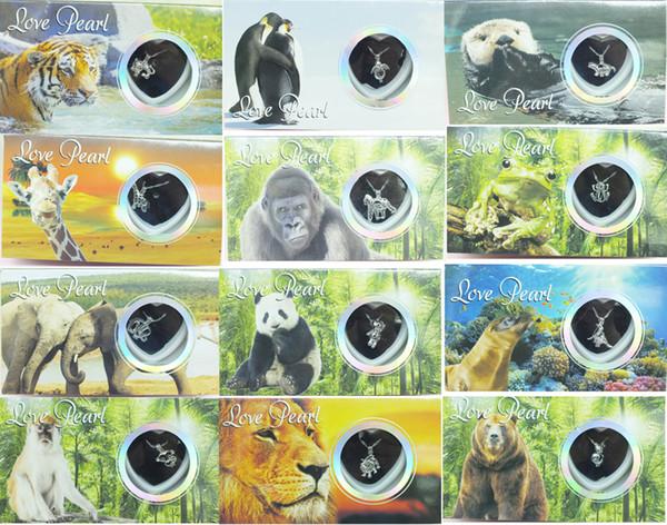 Classic gift 1pcs Wild Animals Wish Pearl Kit Chain Necklace Kit Pendant Lion Giraffe Monkey