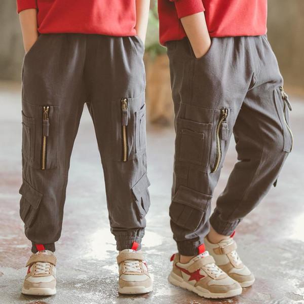 Otoño de los muchachos Pantalones Multi bolsillo del cargo del algodón ocasional de los pantalones chándal Hip Hop Aire libre Pantalones de los muchachos de la primavera de 2020