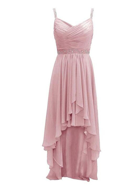 Sleeveless High Low Bridesmaid Dresses Chiffon Prom Dress Evening Formal Gowns Long Plus Size V-neck With Beads Straps
