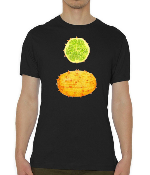 Horned Melon Cross Section Fruit Printed Men's Black T-Shirt Sizes S-XXL