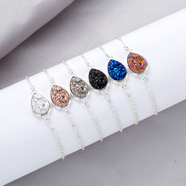2019 Kendra Style Drusy Druzy Bracelet Resin Waterdrop Stone Gold Silver Adjustable Link Chain Wristband Women Jewelry Gift