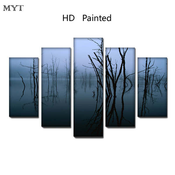 Indoor decor HD Printed 5 Pieces High Quality Large size Canvas painting Wall Arts pictures gray natural scenery Home Decor no framed
