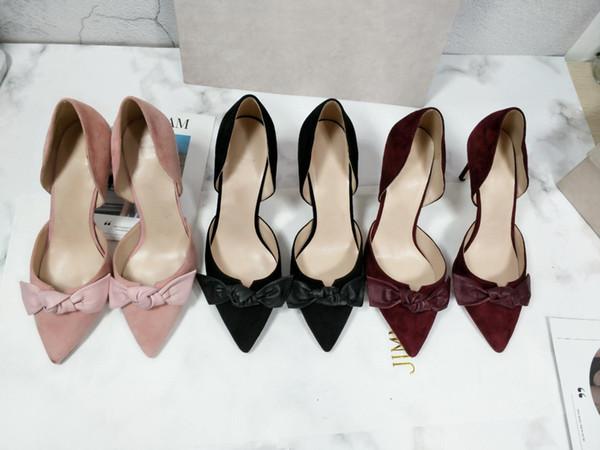 Livraison gratuite mariage femmes mode or blanc noir paillettes arc Noeud Poined Toes haute talons HEELED chaussures talon aiguille chaussures pompe 6.5cm