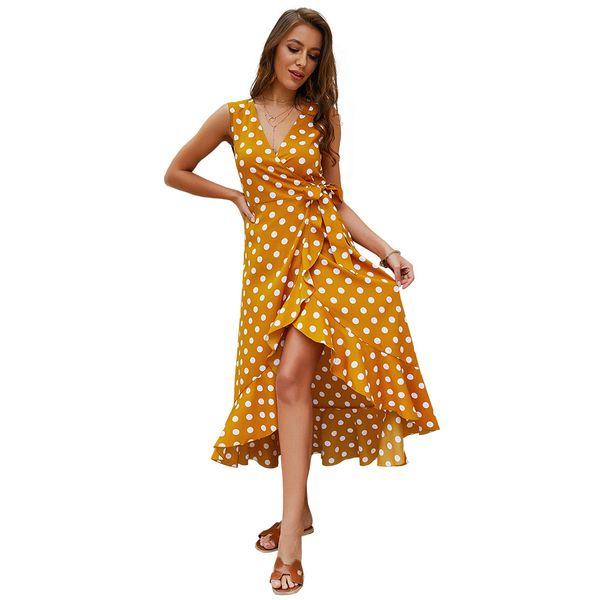 Women V-Neck Polka Dot Print Spaghetti Strap Boho Long Maxi Dresses 3 Colour Select Size (S-XL)