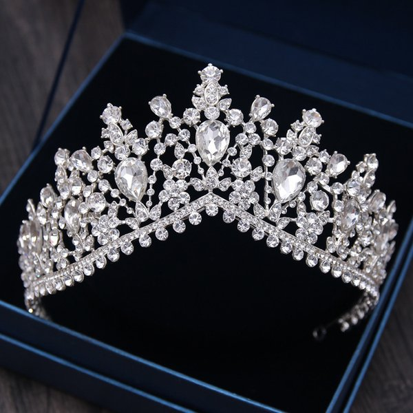 Роскошный горный хрусталь свадебные диадемы Корона барокко Серебряный Кристалл диадема для невесты повязки свадебные украшения для волос платье аксессуары D19011005