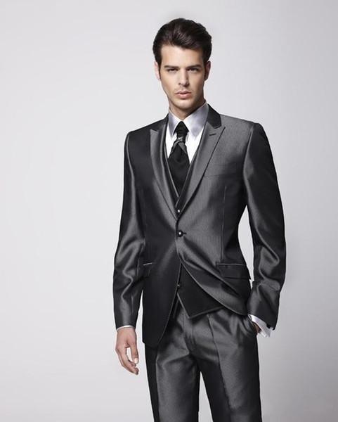Groom Tuxedo Groomsmen Shiny Charcoal Gray Wedding/Dinner/Evening Suits Best Man Bridegroom (Jacket+Pants+Tie+Vest)