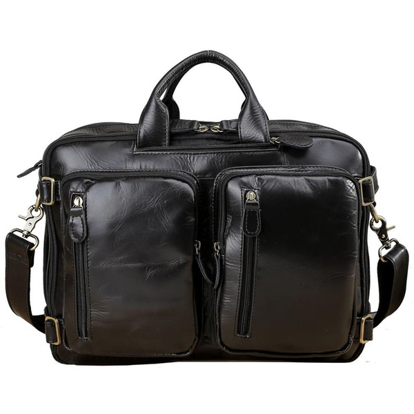 Crazy Horse Cowhide Laptop Brief Case Genuine Leather Backpacks Bag Multifunctional Shoulder Bag Hand Bag Backpack Messenger Bags