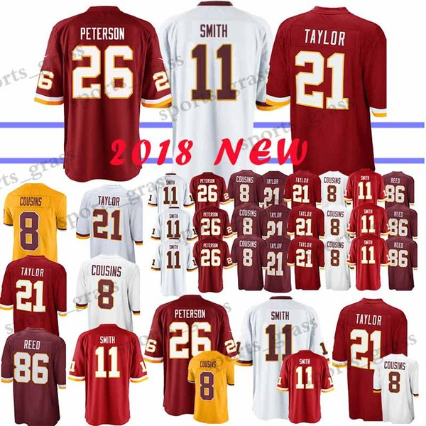 pretty nice af27c c6a07 2019 11 Alex Smith Washington Redskins Jerseys 26 Adrian Peterson 91 Ryan  Kerrigan 21 Sean Taylor 8 Kirk Cousins 29 Guice 86 Reed Jersey 2019 New  From ...