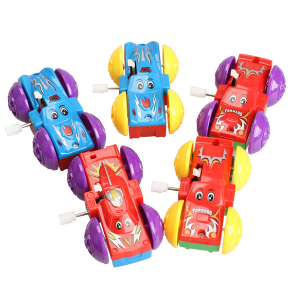 Classic Wind Up 1PC Kids Clockwork Car Two-sided Pattern Funny Clockwork Wind Up Toys Kids Educatinal Toys