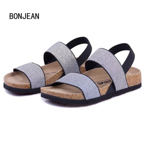 Men Sandals Cork Shoes Slippers Beach Shoes Elastic Flats with Non-slip Summer Zapatos Mujer Sandalias Femininas Plus Size 39-43