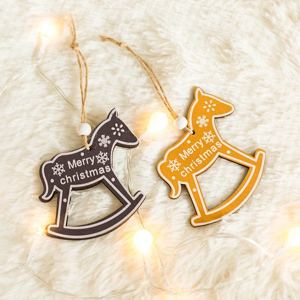 1Pcs Deer Star New Year Christmas Tree Ornaments Pendants Wooden Hanging Crafts Xmas Decor Home Wedding Party Decoration 62617