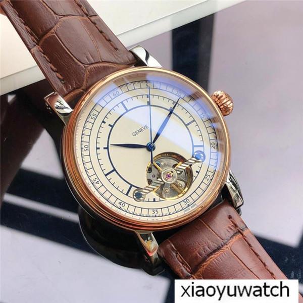 0bc1c262e8c Relógios dos homens de luxo Geneve 42mm Aço Inoxidável Pulseira De Couro  Genuíno Branco Dial Volante