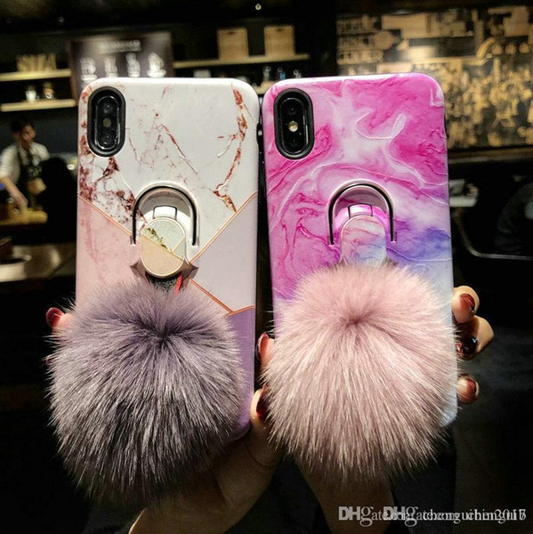 Marble texture hair ball holder mobile phone case cover for iphone Xs max Xr X 7 7plus 8 8plus 6 6plus