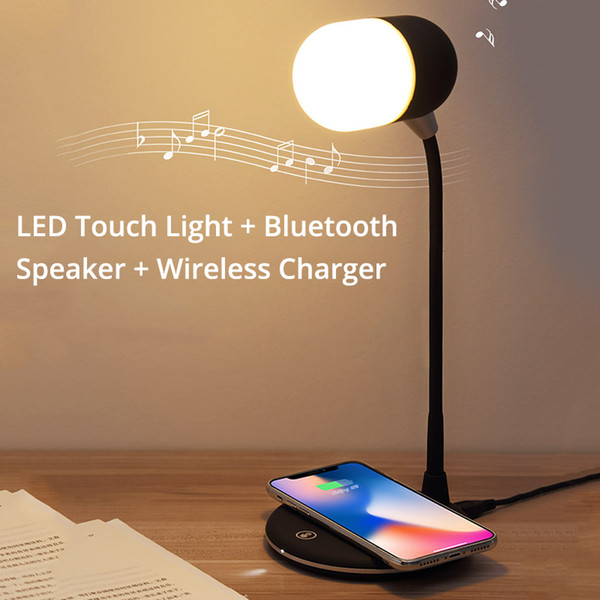 Altoparlante Bluetooth LED Touch Light con caricatore wireless Oplader per iPhone Xs / Xr / 8 plus Qi Draadloze Oplader per Samsung S10 / S9 / S8