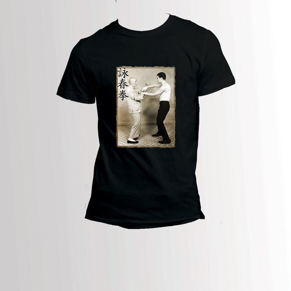 Брюс Ли и ИП человек Вин Чун кунг-фу мастер футболки мужские рукава прохладный повседневная гордость Майка мужчины унисекс новая мода