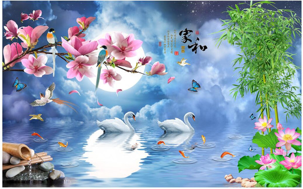 Wdbh Custom Photo 3d Wallpaper Hd Night Color Flower Month Romantic Swan Room Background Home Decor 3d Wall Muals Wall Paper For Walls 3 D Widescreen
