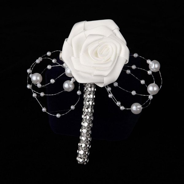 Wholesale-1PC HandMade Groom Boutonniere White Ribbon Rose Wedding Bouquet Flower Groomsmen Corsages Party Prom Man Suit Accessories