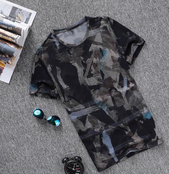 T-shirt Homme 2019 Nouvelle Arrivée Col Rond Homme Motif Numérique Impression De Mode Vêtements Pour Hommes T-shirts À Manches Courtes Taille M-XXXL