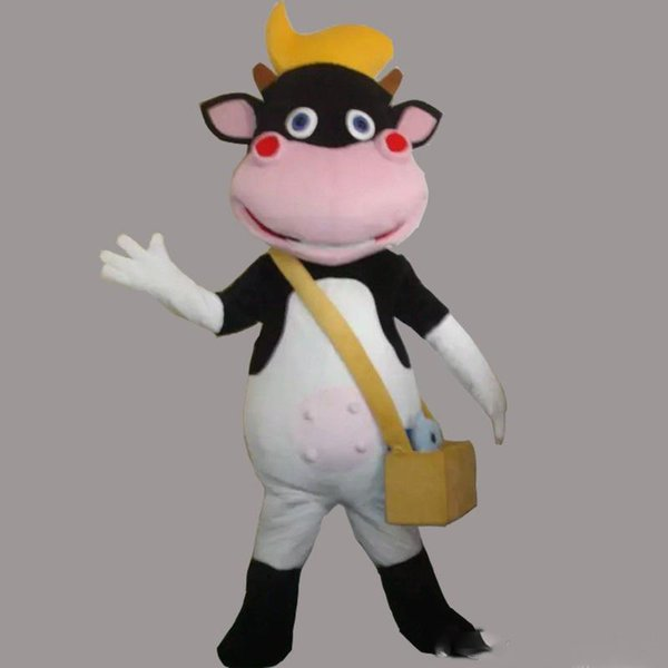 High quality Adult size Cow Baby mascot Wear cross bag bull animal custom fancy dress costume Shool Event Birthday Party