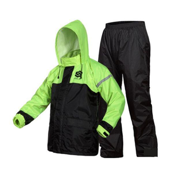 Kostenloser Versand 2 Farbe Mode im Freien Sport Angeln Mann Frau Wasserdichte Spalt Regenmantel Anzug Motorrad rainwear + pants # 319449
