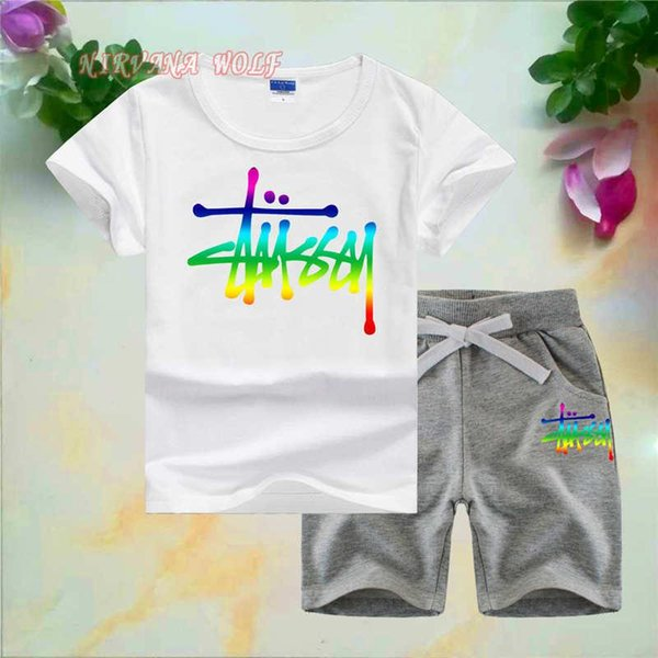STSY Little Kids Sets 1-7T Kids T-shirt And Short Pants 2Pcs/sets Baby Boys Girls 95% Cotton Colorful Lerrers Printing Style Summer Sets